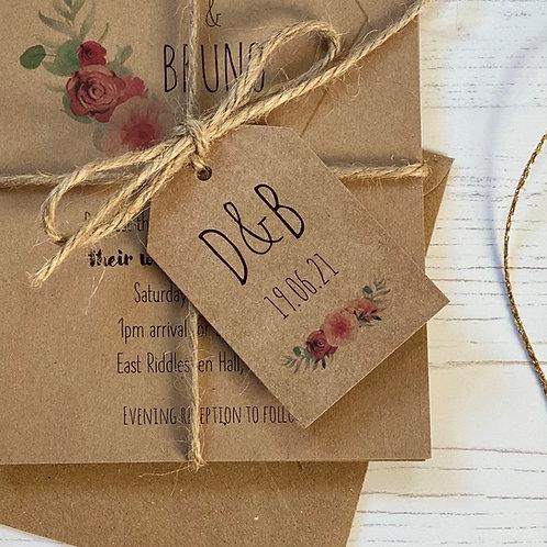 Floral Blush Wedding Favour Tags - Kraft