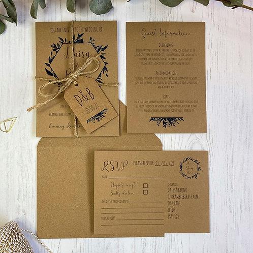 Blue Foliage Wedding Invitations - Kraft