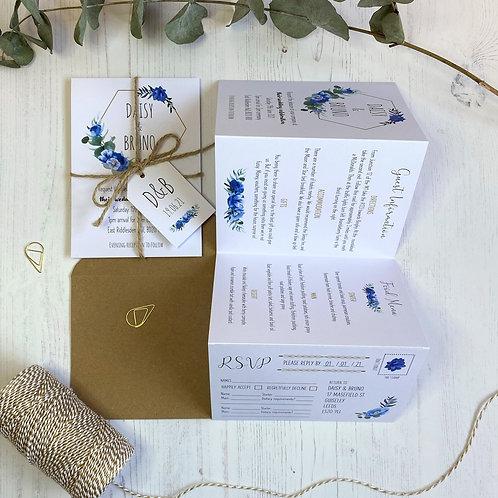 Dusty Blue Folded Wedding Invitations - White