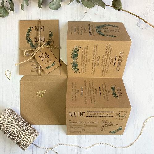 Eucalyptus Folded Wedding Invitations - Kraft