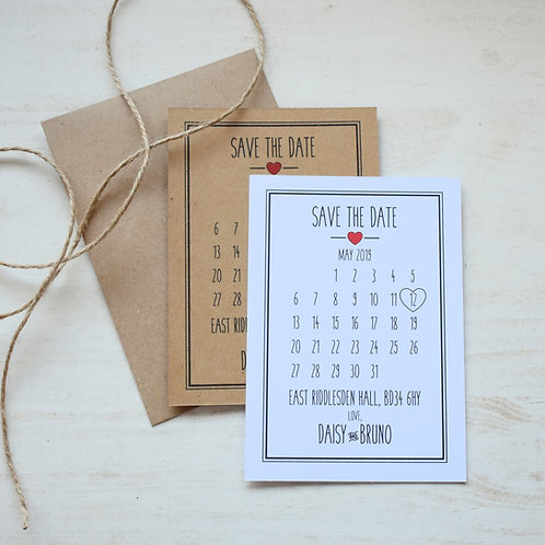 Rustic Heart Save the Date Cards (x10)