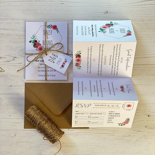 Floral Blush Folded Wedding Invitations - White