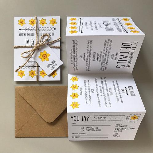 Daffodil Folded Wedding Invitations - White