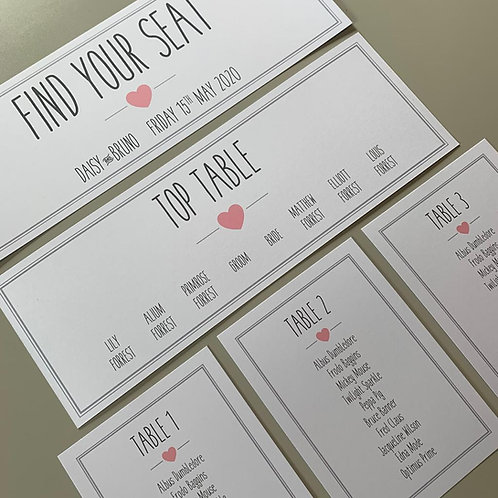 Pink and Grey Individual Table Plan Cards