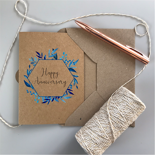 Personalised Happy Anniversary Card - Kraft