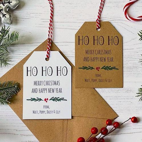 Personalised Ho Ho Ho Christmas Gift Tags (x10)