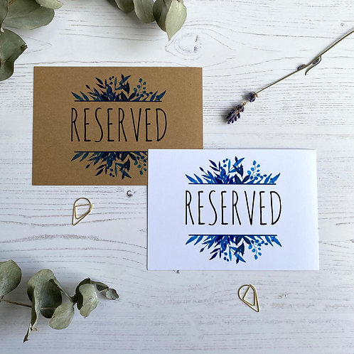 Blue Foliage Reserved Sign