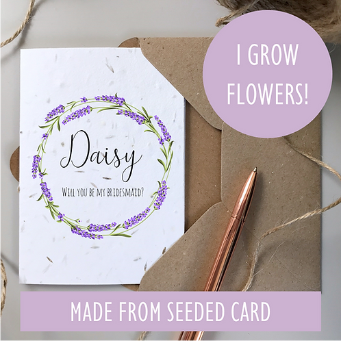 Bridesmaid Proposal Card - Lavender Seeded
