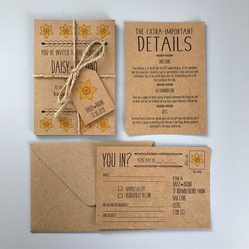Daffodil Wedding Invitations - Kraft