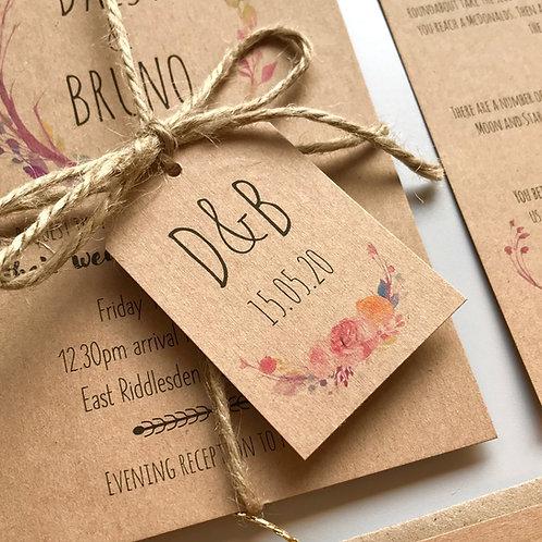 Boho Flower Wedding Favour Tags - Kraft