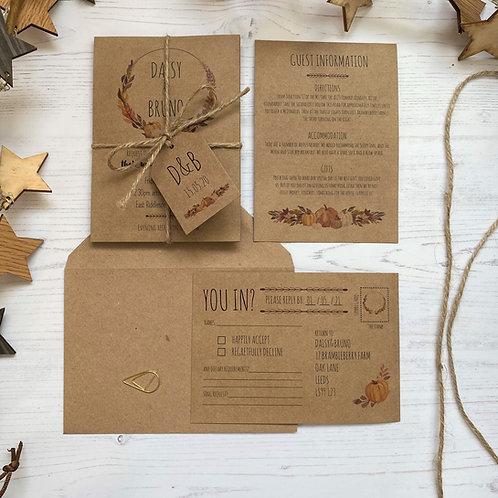 Pumpkin Wedding Invitations - Kraft