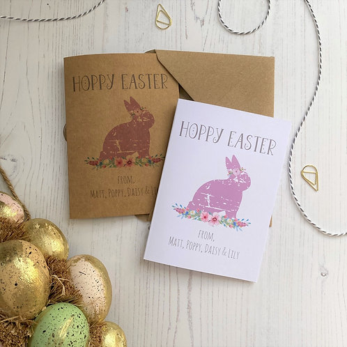 Personalised Family Hoppy Easter Cards  (10 pack)
