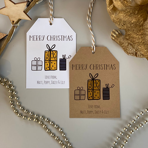 Personalised Present Christmas Gift Tags (x10)