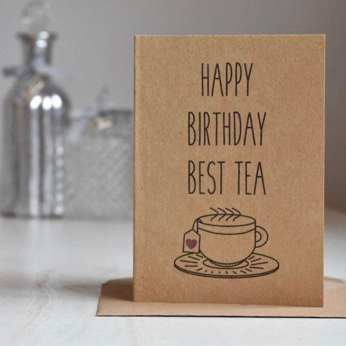 Best Friend / Bestie / Best Tea Birthday Card, Kraft