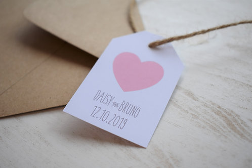 Pink and Grey Wedding Favour Tags