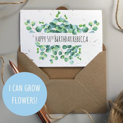 Happy 50th Birthday Card Eucalyptus - Seeded Card