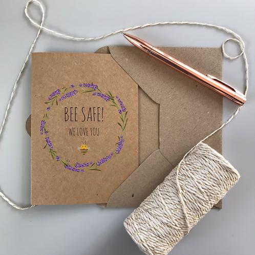 Bee Safe Lavender Card - Kraft