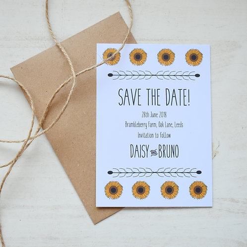 Sunflower Save the Date Cards - White (x10)