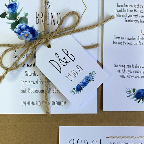 Dusty Blue Wedding Favour Tags - White
