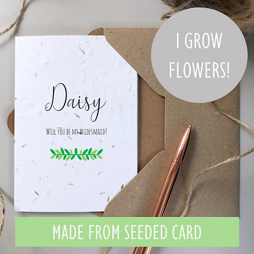 Bridesmaid Proposal Card - Foliage Seeded