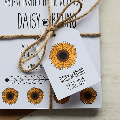 Sunflower Wedding Favour Tags - White