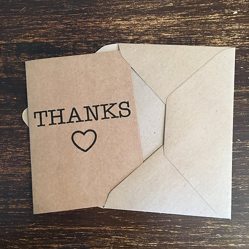 Thank you cards, Kraft, Thanks, Heart outline