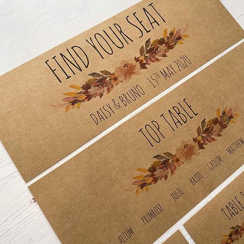 Autumn Boho Individual Table Plan Cards - Kraft