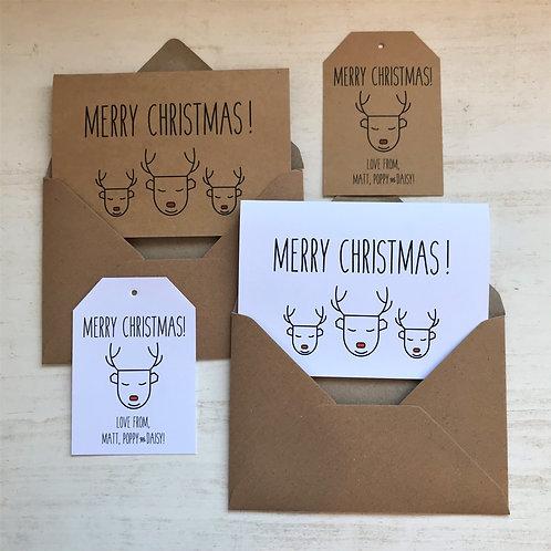 Reindeer Scandi Christmas Cards