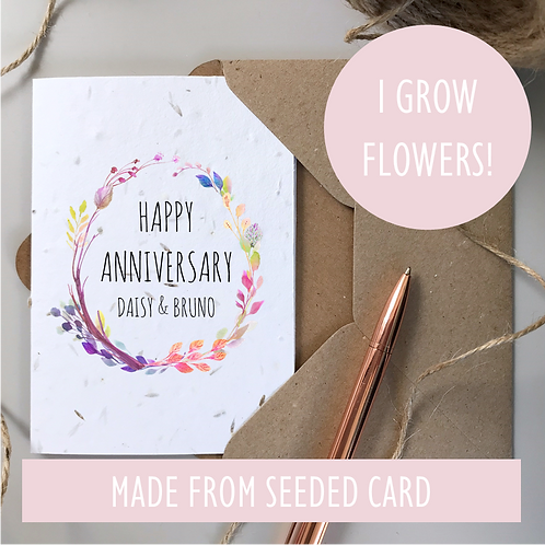 Personalised Happy Anniversary Card - Seeded