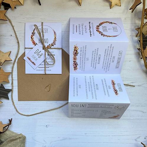 Autumn Boho Folded Wedding Invitations - White