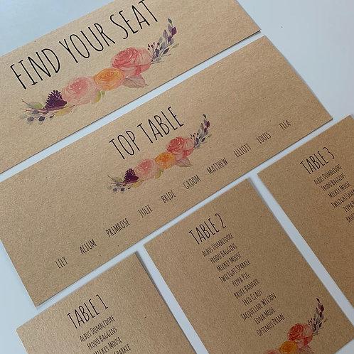 Boho Individual Table Plan Cards - Kraft