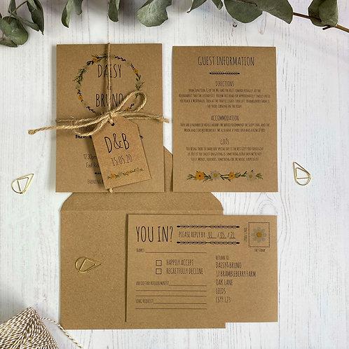 Daisy Wildflower Wedding Invitations - Kraft