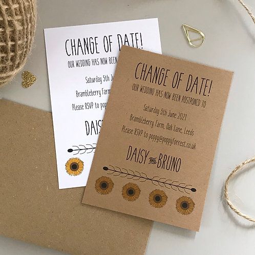 Sunflower Change of Date Cards