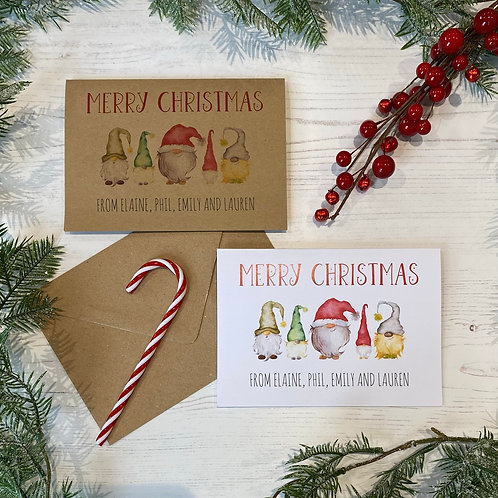 Personalised Gnome Christmas Cards (X10)