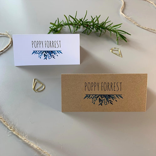 Blue Foliage Place Name Cards