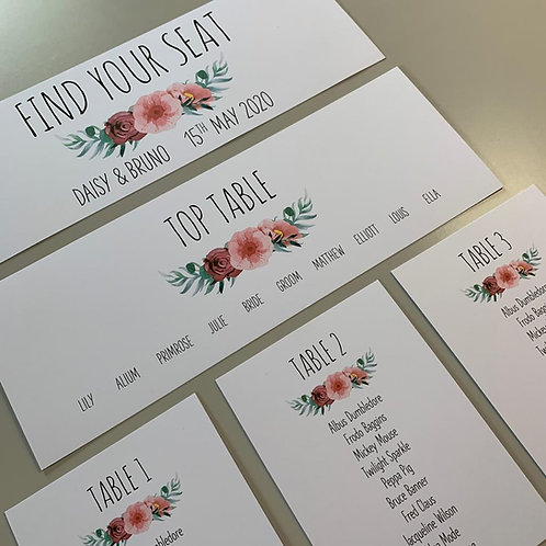 Floral Blush Individual Table Plan Cards - White