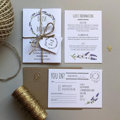 Lavender Wedding Invitations - White