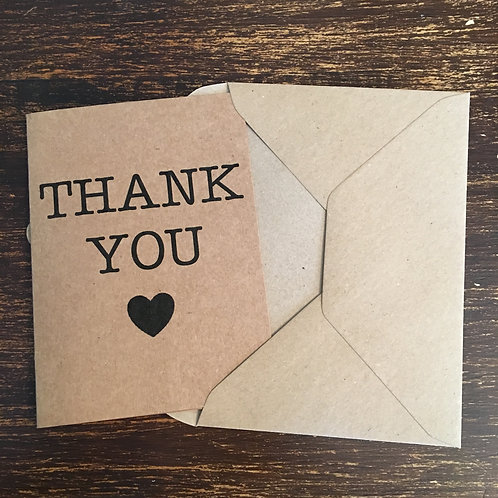 Thank you cards, Kraft, Black heart