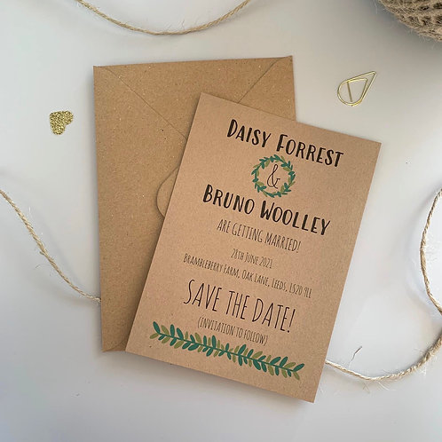 Foliage Save The Date Cards - Kraft (x10)