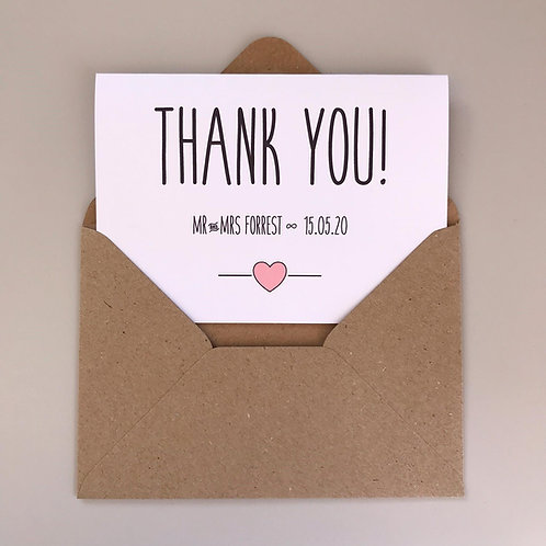 Rustic Heart Landscape Personalised Wedding Thank You Cards - White