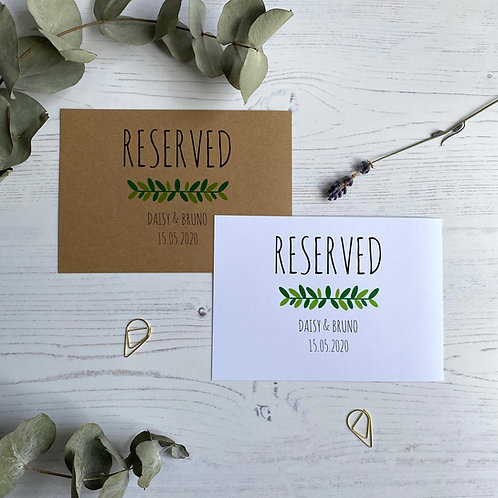 Green Foliage Reserved Sign