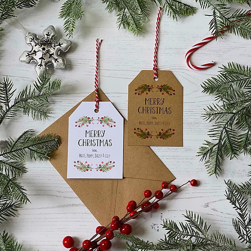 Personalised Red Berry Christmas Wreath Gift Tags (X10)