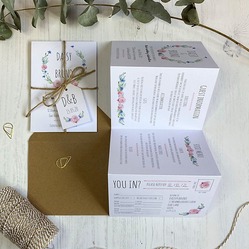 Daisy Cornflower Folded Wedding Invitations - White