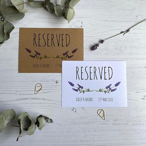 Lavender Reserved Sign
