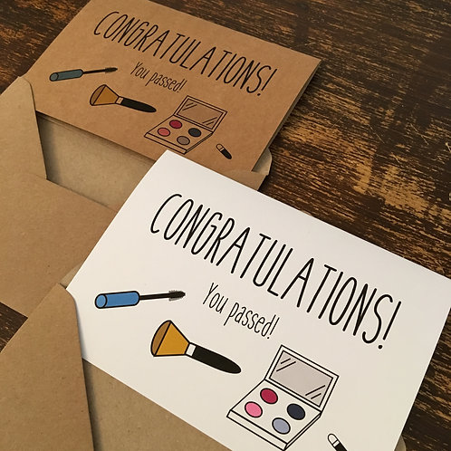 Congratulations you passed, beauty therapy / make up course card