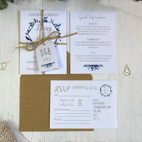 Blue Foliage Wedding Invitations - White