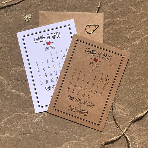 Rustic Heart Change of Date Cards