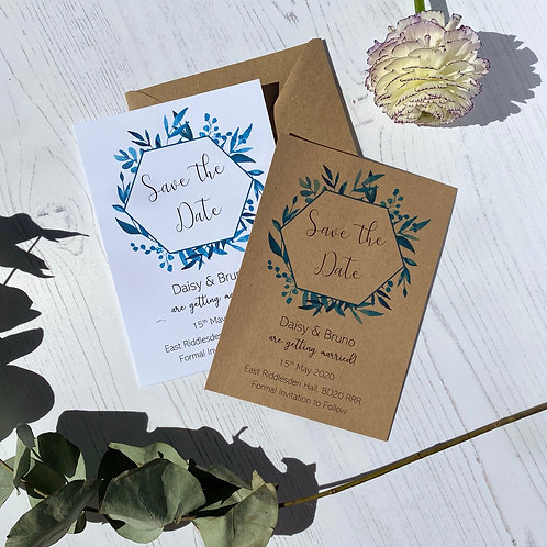 Blue Foliage Save The Date Cards