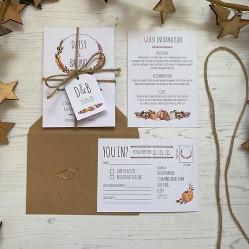 Pumpkin Wedding Invitations - White