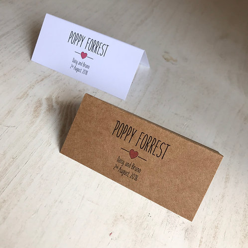 Rustic Heart Place Name Cards